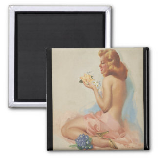 Flower Girl, circa 1955 Pin Up Art Square Magnet