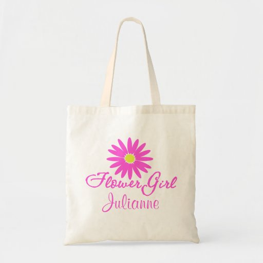 Flower Girl Daisy/ Pink Tote Bags