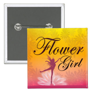 Flower Girl Dancing Fairy 2 Inch Square Button