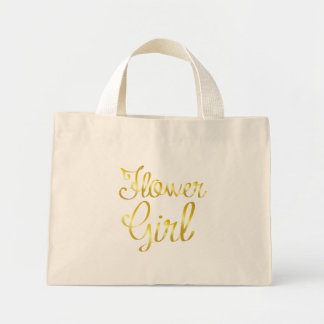 Flower Girl Gold Tiny, Small Mini Tote Bag