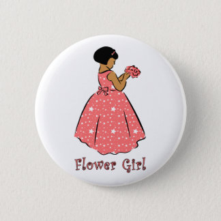Flower Girl in Coral 2 Inch Round Button