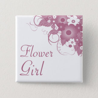 Flower Girl Mauve Bouquet Button