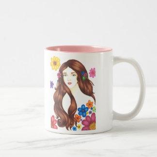 Flower Girl Mug 11oz White Pink