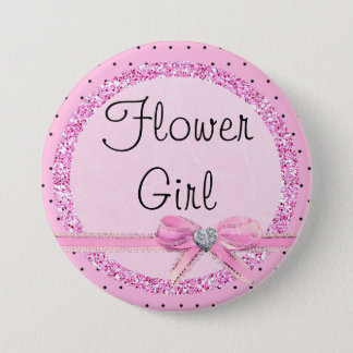 Flower Girl Pink and Black Dots Button