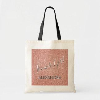 Flower Girl Pink Glitter Bridal Shower Favor Bag