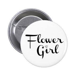 Flower Girl Retro Script Black on White 2 Inch Round Button