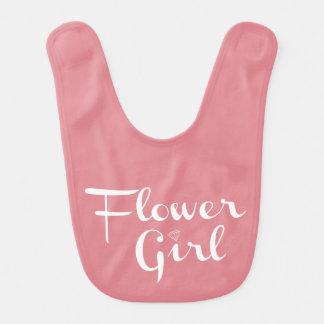 Flower Girl Retro Script White on Peach Baby Bib