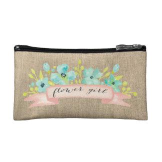 Flower Girl Rustic Burlap Wedding Make Up Bag Cosmetic Bags