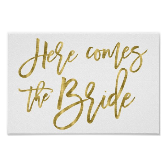 Flower Girl Sign Poster Gold Foil Effect 8x12