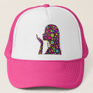 FLOWER GIRL SILHOUETTE TRUCKER HAT