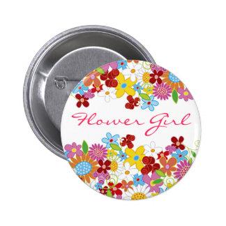 FLOWER GIRL Spring Flowers Garden Wedding Button