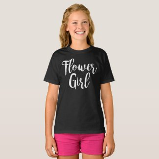 Flower Girl Tshirt | White Calligraphy