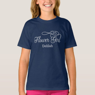"""Flower Girl"" Typography Hearts T-Shirt"