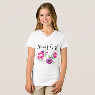 Flower Girl Watercolor Flowers T T-Shirt