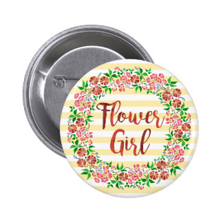 Flower Girl Wedding Floral Watercolor Stripes Cute 2 Inch Round Button