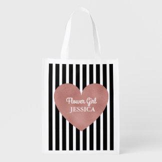 Flower Girl Wedding Modern Rose Gold Heart Reusable Grocery Bag