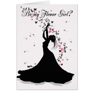 Flower Girl Wedding Request With Female Catching F Card