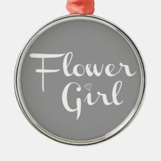 Flower Girl White on Grey Silver-Colored Round Ornament