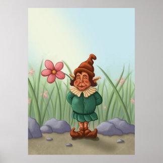 flower gnome garden poster