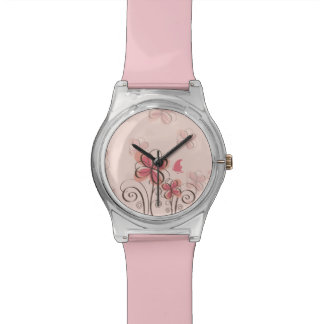 Flower graphic wrist watch