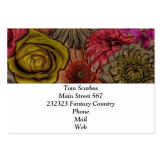 flower greetings, vintage look business card