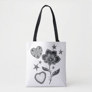 flower heart and stars tote bag