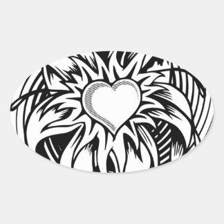 Flower Heart Tattoo Design with a spiral Oval Sticker