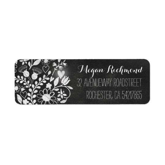 flower hearts chalkboard return address labels