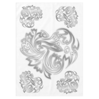 Flower Hearts Silver White Tablecloth