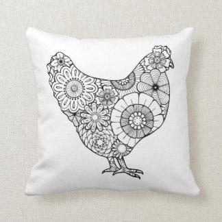 flower hen pillow