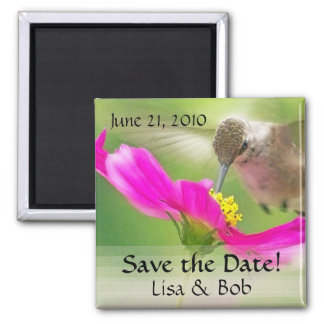 Flower Hummingbird Save the Date Magnet