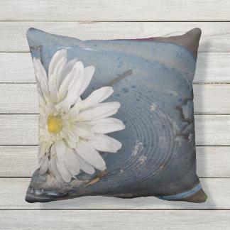 Flower in a Bird Bath Outdoor Pillow