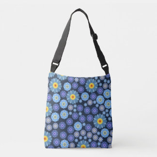 Flower in Blue Crossbody Bag