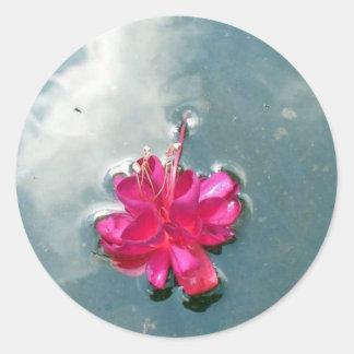 Flower in  Puddle Round Sticker