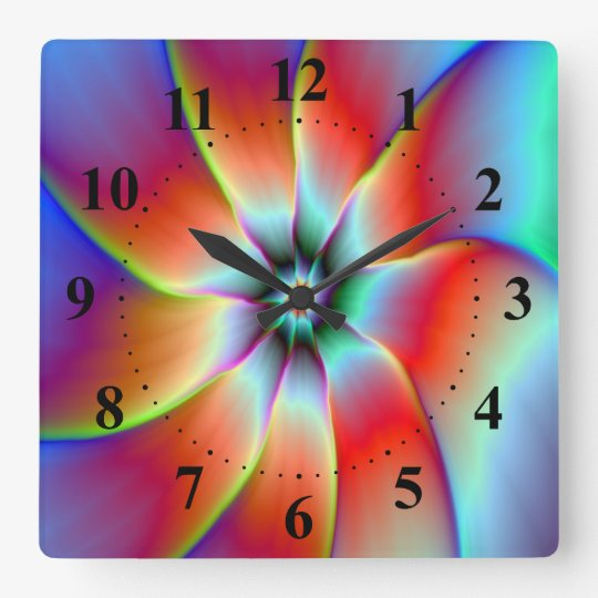 Flower in Red Orange and Yellow Square Wall Clock
