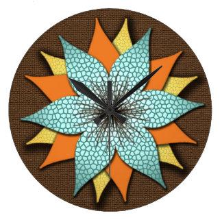 Flower in Warm Earth Tones Wall Clock