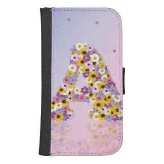 Flower initial A Samsung S4 Wallet Case