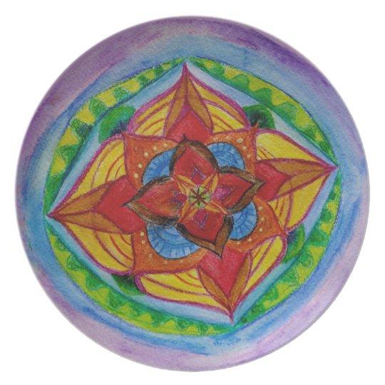 Flower Inner Space Zen Mandala Melamine Plate