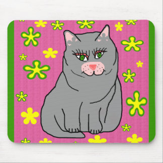 Flower kitty mouse pad