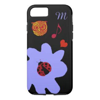 flower, ladybug, owl, heart & music iPhone 7 case