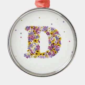 Flower letter D Silver-Colored Round Ornament
