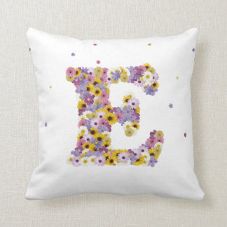Flower letter E Throw Pillow