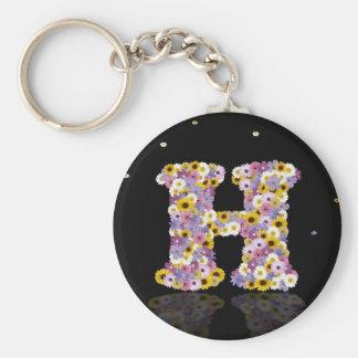 Flower letter H Basic Round Button Keychain