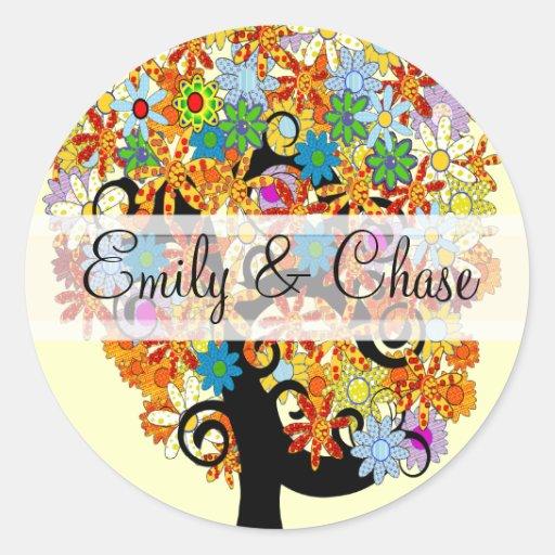 Flower Love Tree Wedding Stickers
