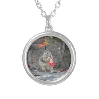 Flower Loving Squirrel Silver Plated Necklace