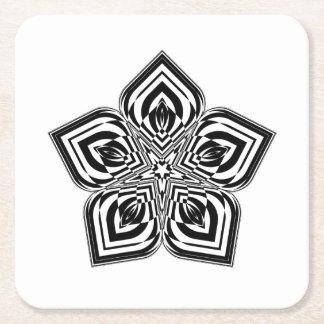 Flower Mandala #01 Square Paper Coaster