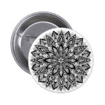 Flower Mandala black and white 2 Inch Round Button