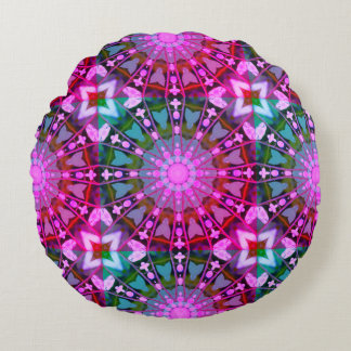 Flower Mandala, Bleeding Hearts 02.0_rd Round Pillow