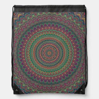 Flower mandala drawstring bag