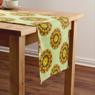 Flower-Mandala, golden poppies, Californian poppy Short Table Runner